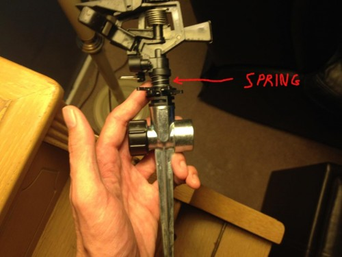 The spring-loaded plastic impact sprinkler.