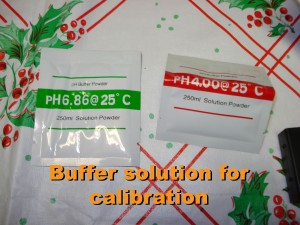 2 of the pH buffer packets that came with the meter