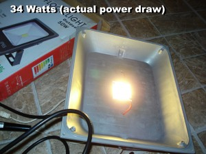 GLW Warm White 50W LED COB powered on