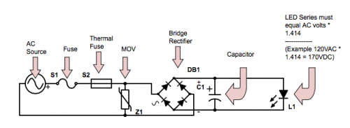 Bridge rectifier, capacitors, fuses, LEDs