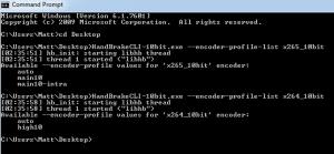 10-bit HandBrake CLI on Windows