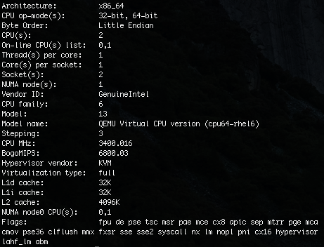 lscpu of the E3 3.4Ghz
