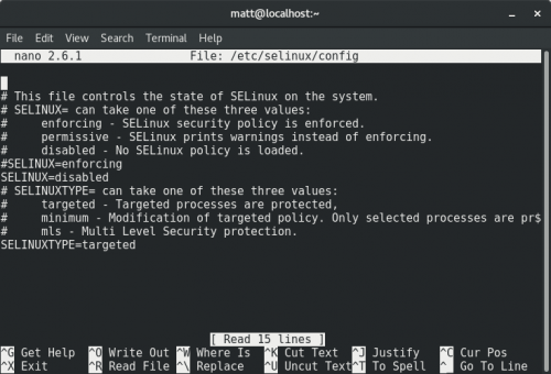 SELINUX=disabled