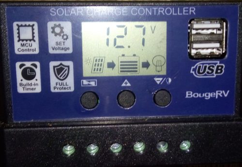BougeRV 30A Charge Controller (Front when powered on)