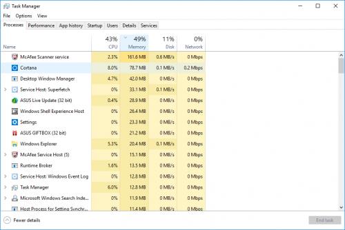 ASUS X541NA Memory Usage