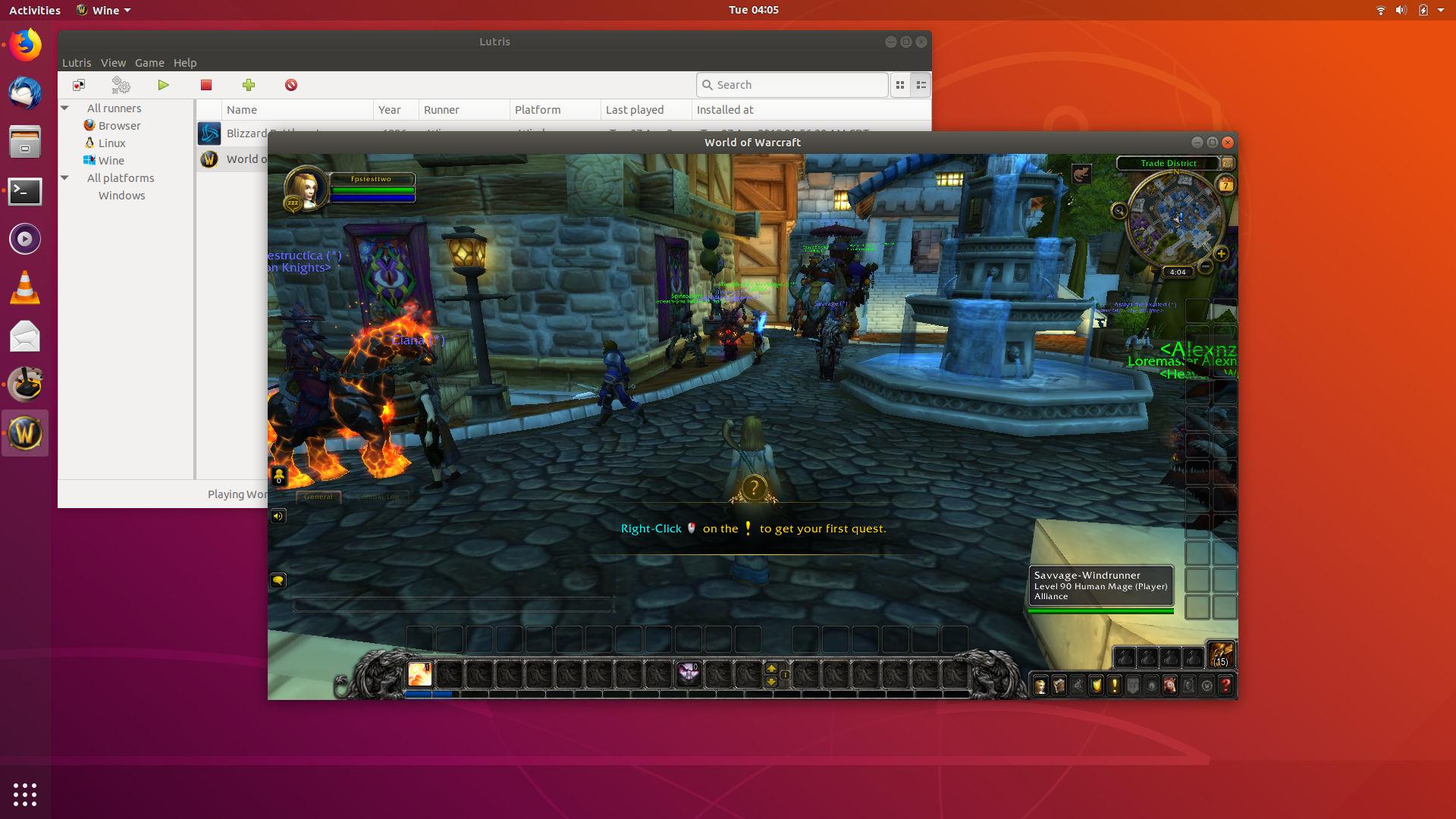 WoW BFA-prepatch, working on Linux through Lutris
