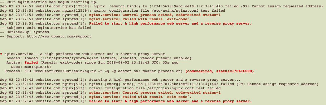 """Fixing """"Cannot assign requested address"""" for NGINX + IPv6 on"""