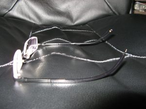 Side view of Gellars Zenni glasses